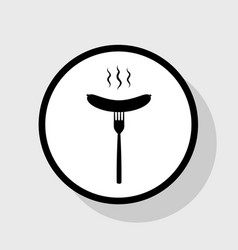 Sausage on fork sign  flat black icon in vector