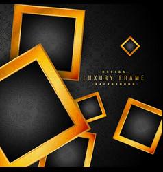beautiful golden frames on black floral background vector image