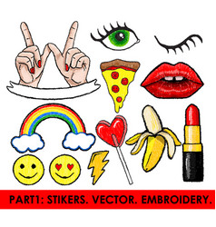 Set of stickers embroidery isolated vector