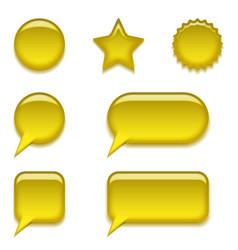 Yellow glass buttons set vector