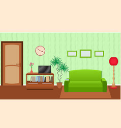 Bright colors living room interior in flat style vector