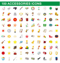 100 accessories icons set cartoon style vector