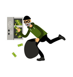Professional masked burglar character stealing vector