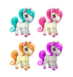 cute cartoon little horses vector image