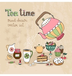 Set of hand drawn teatime design elements vector