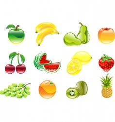 Gorgeous shiny fruit icon set vector