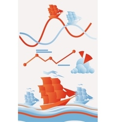 Set of marine trade infographics elements vector