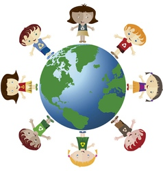 Globe and children vector