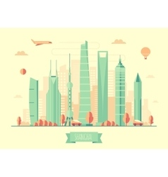 Shanghai skyline architecture vector