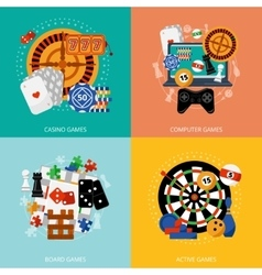 Gambling games 4 flat icons square vector