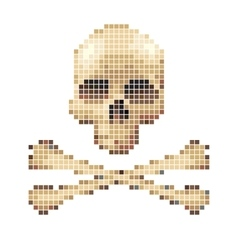 Skull and crossbones collected from pixels vector