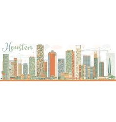 Abstract houston skyline with color buildings vector
