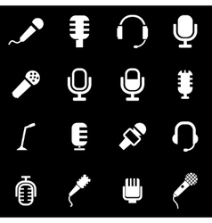 White microphone icon set vector