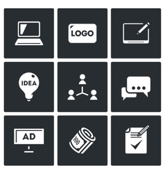 Set of creative agency icons computer vector