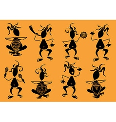 Set of funny african musicians icons vector