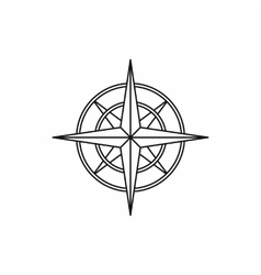 Ancient compass icon outline style vector