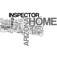 Arizona home inspector text word cloud concept vector