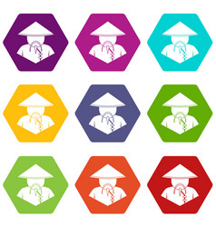Asian man in conical hat icon set color hexahedron vector