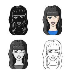 Avatar girl with long dark hairavatar and face vector