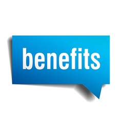 benefits blue 3d realistic paper speech bubble vector image vector image