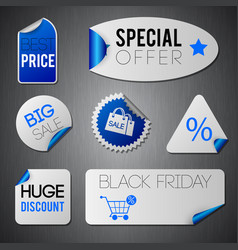 black friday stickers set vector image vector image