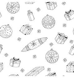 Christmas gifts seamless pattern in doodle style vector