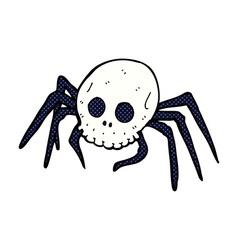 Comic cartoon spooky halloween skull spider vector