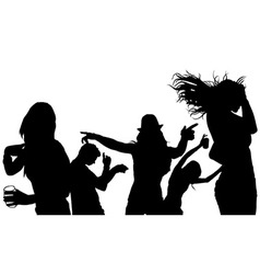 Dancing group silhouette vector