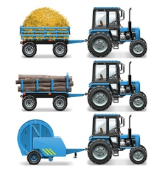 Farm tractor with baler and trolley vector
