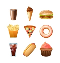 Fast food menu flat icons set vector