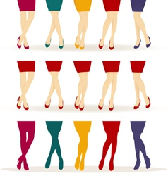 Female legs with colorful shoes vector