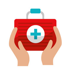 First aid kit tool in the hands vector