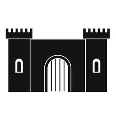 Fortress with gate icon simple style vector