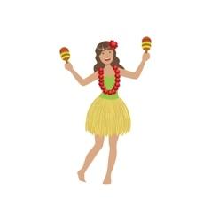 Girl playing maracas hawaiian vacation classic vector