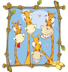 Happy giraffe family portrait vector