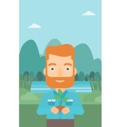 Man holding plant vector