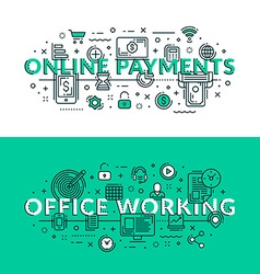 Online payments and office working related icons vector