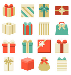 parcel presents and colorful gift box collection vector image vector image