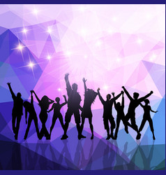 party crowd on a low poly background vector image vector image