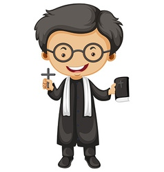 Priest holding bible and cross vector