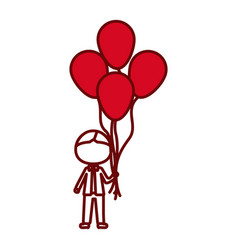 Red silhouette of caricature faceless kid with bow vector