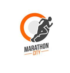 Running man silhouette marathon vector