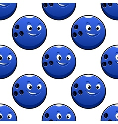 Seamless cartoon blue bowling ball characters vector
