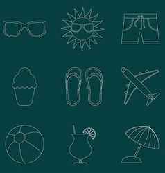 Set of icons of Summer travel theme Simple line vector image vector image