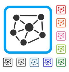social graph framed icon vector image
