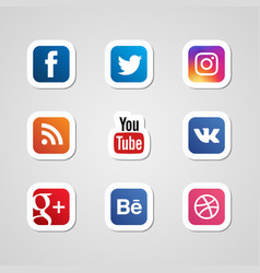 Social media icons set stickers vector