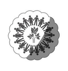 Sticker monochrome silhouette teamwork human vector