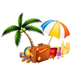 Summer theme with suitcase and toys vector