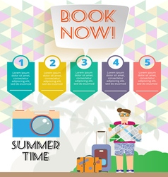 Summer time infographic with book now text vector