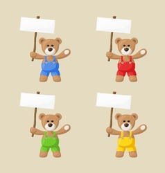 Teddy Bears with White Signboards vector image vector image